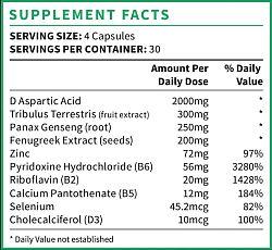 testogen ingredients and supplement facts