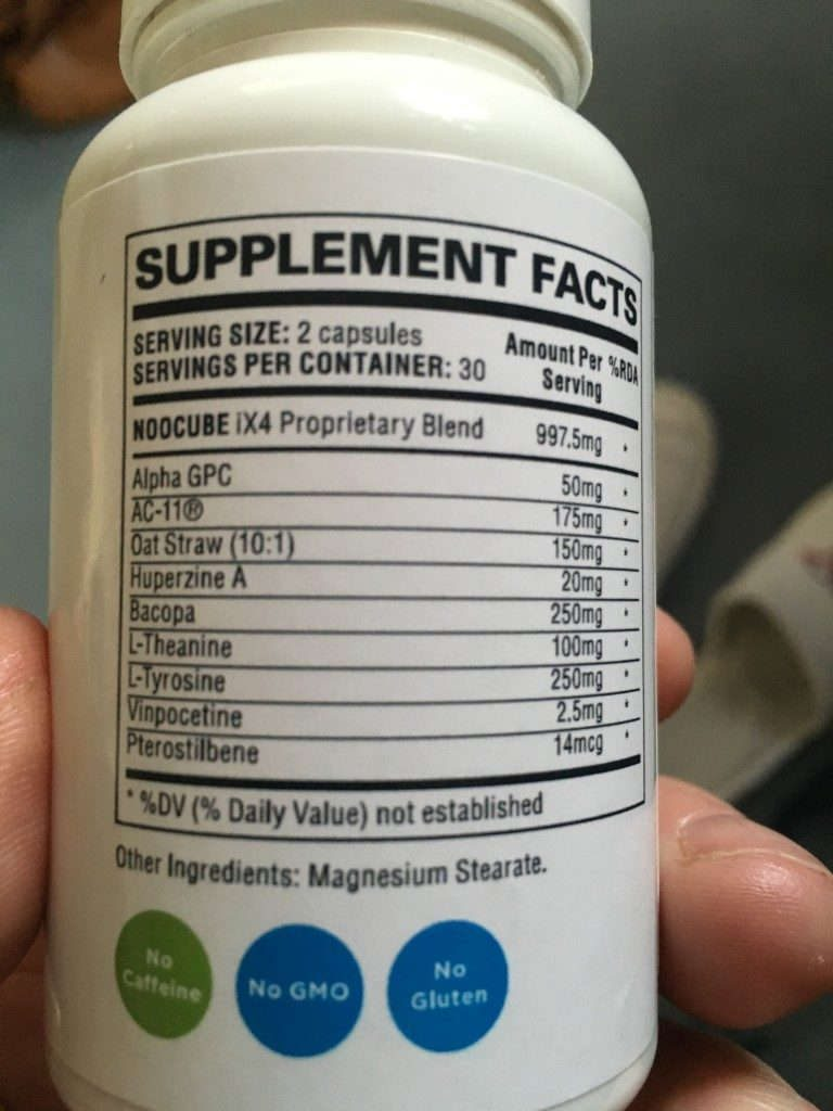 noocube ingredients bottle back label