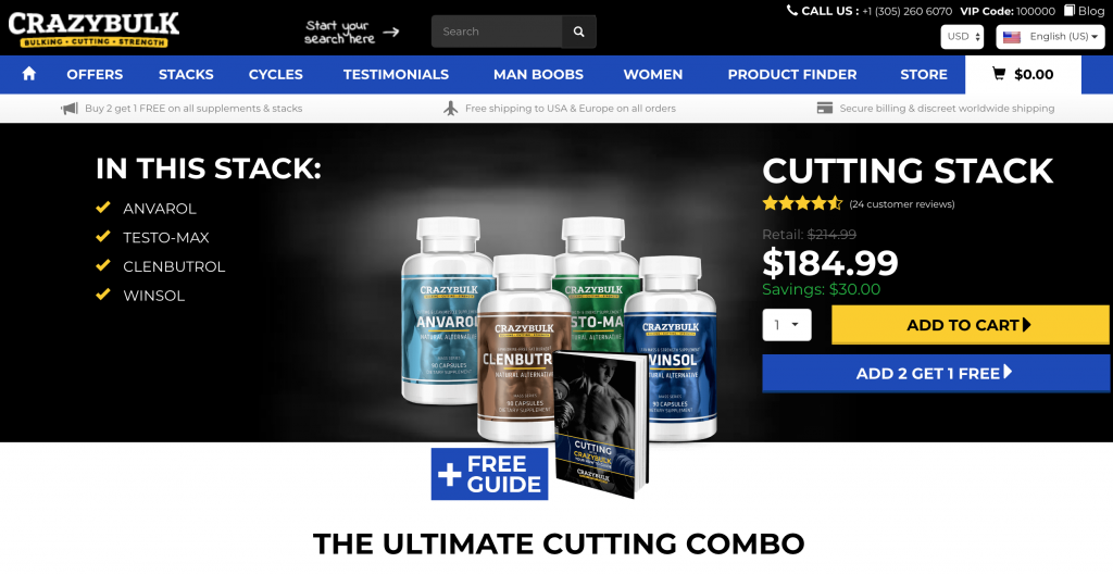 Crazy bulk cutting stack official website screenshot